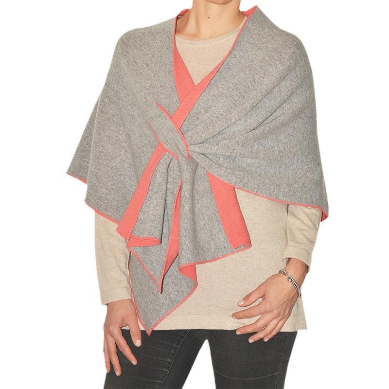 Short Poncho Cashmere, Wool & Silk