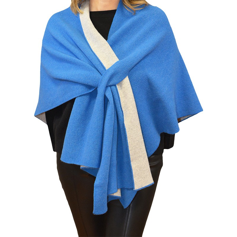 Poncho in Cashmere, Wool & Silk with fox fur