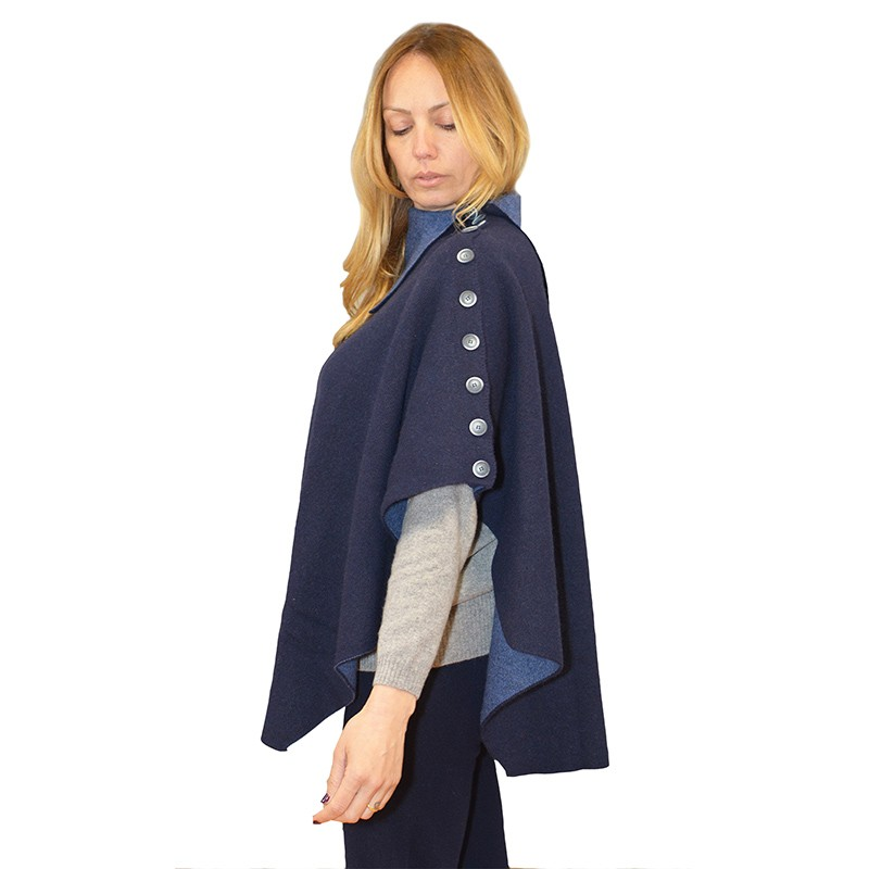 Double face poncho with bow